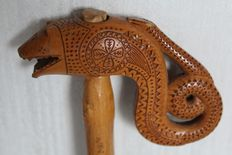 Antique bamboo cane with a snake as handle - Japan - late 19th century