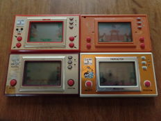 Lot of 4 Nintendo Game & Watch - Tropical Fish - Mickey Mouse - Fire Attack - Chef