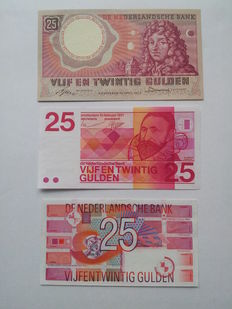 Netherlands - 3 x 25 guilders 1955, 1971 and 1989