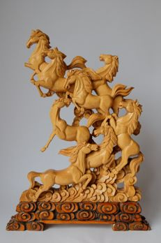 A sculpture of horses in wood - China - late 20th century