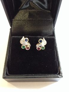 14 kt earrings with diamonds, rubies, sapphires and emeralds - Height  10 mm x Width 7 mm.