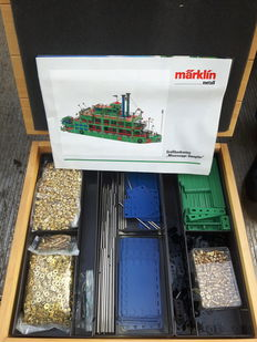 Märklin Metal, Germany - metal construction box Mississippi steamer 1082