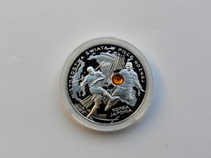 Poland - 10 Zlotych 2002 'Football World Cup 2002 in Korea/Japan' - silver with amber