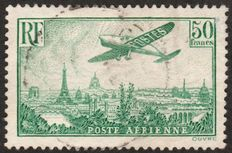 "France 1936 – ""Airplane over Paris"" – Yvert PA 14."
