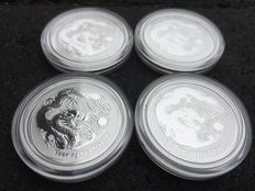 Australia - 50 Cents 2012 'Luna Year of the dragon' (4 pieces) - Silver