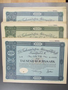 Germany IG Farben Shares - 3 versions: 1000 Reichsmark 1926 and 1925 and 200 Reichsmark 1925, 50 times each, so a total of 150 pieces and 100 Mannesmann shares