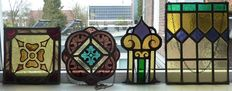 Four antique stained glass SunCatchers in beautiful colours