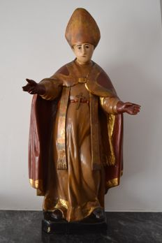 Pope Innocent XIII - carved wood, polychrome and parcel gilt - Italy - late 19th century/ early 20th century