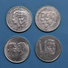 Belgium - 250 Francs 1994, 1998 and 1999 (4 pieces in total) - silver