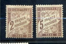 France 1884 – 2 francs & 5 francs Tax Duval brown – Yvert no. 26 and 27