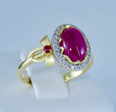 18k Yellow gold and 2.91  fine red natural Ruby set with 0.37ct. diamonds