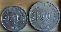 Portuguese India – 1/2 Rupee and 1 Rupee coins (silver) – 1936 and 1935 – Lisbon