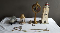 Special decorative ship collection - Telegraph - 2 x ship's whistle Port of Rotterdam + ECT Rotterdam - 2 x ship's lamp - miniature ship's bell - Lighthouse Noordwijk Holland