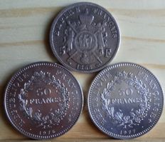 France – 5 Francs 1868 BB and 50 Francs 1976, 1977 (3 coins) – Silver