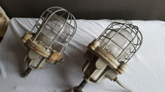 2 x large and really tough bull bulley maritime / industrial lamps with porcelain fitting