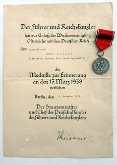 Medal to commemorate 13 March 1938 with certificate, Ostmark Medal