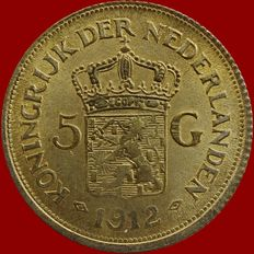 The Netherlands – 5 guilder coin  1912, Wilhelmina, replica – gold.