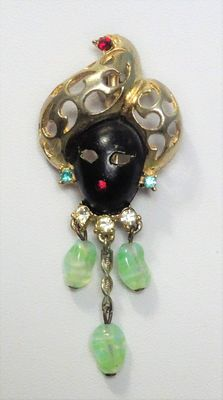 Signed DAFRI - Unique Blackamoor Brooch 1950s