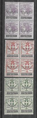 Italy, 1924 - State-controlled organisations -  Sassone catalogue # 17-19-22 and # 70-71-74 in blocks of four.