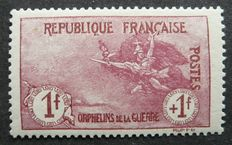France 1917 – 1f + 1f carmine – Orphelins (orphans) – Signed by Calves – Yvert n°154