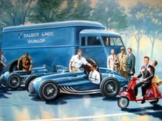 """Sweet Fifties"" The Talbot team is preparing both cars for Monza 1951 - Art Print HV Silk MC 250 g/m2"