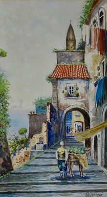 Michele Gianni (19th-20th century) - A view of Mergellina, Naples