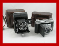 Kodak Retina I Type 013 and the Zeiss Ikon Ikonta A 521 with leather bags