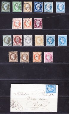 France 1860/1866 – Collection of stamps - between Yvert n° 11 and 32, and a letter from 1866