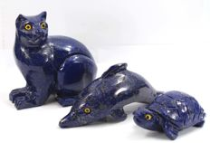 Lapis Lazuli figurines -  Cat, Dolphin and Tortoise - 83, 115 and 69mm - 682gm  (3)