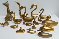 Collection vintage brass birds and cats