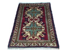 Beautiful antique Oriental carpet: Kazakh, 186 x 140 cm