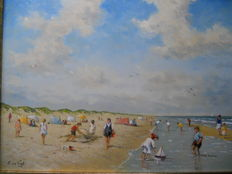L.van Vugt  ( 1952  ) -  beach view with playing children.