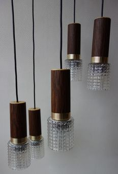 Unknown designer - vintage cascade pendant light with 5 light sources and polished glass shades.