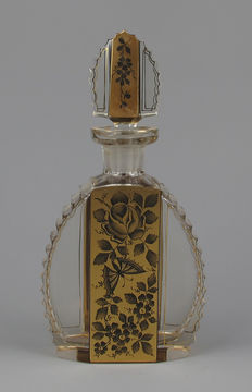 Art Deco crystal and gilt decorated liqueur bottle - decanter