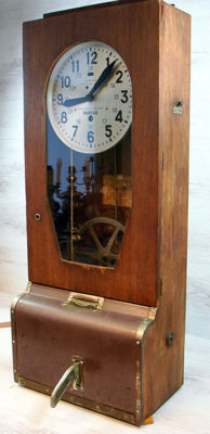 Unique antique French Taximètres Pantax factory clock with stamp mechanism - first half 20th century