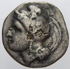 Greek Antiquity – Velia, Nomos (300-280 A.D.), Athena and lion facing left – silver