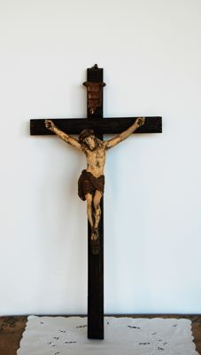 Ancient crucified Christ in wood and plaster