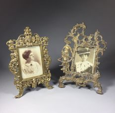 Two brass photo frames, France, first half of the 20th century and later,