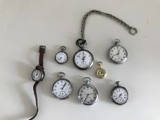 Batch of 7 pocket watches and 1 regular watch – various brands!