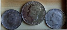 Portugal – D. Manuel II – 2 x 100 Reis coins and 1 x 200 Reis coin (silver) – 1909 and 1910 – Lisbon