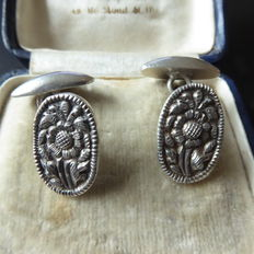 Antique silver cuff links, floral