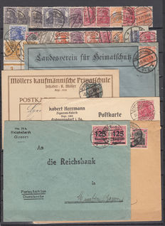 Imperial Germany 1910/1920 - Specialised lot of stamps, letters, and cards with different cancellations.