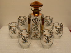 Bohemia - Art Deco decanter with six glasses with enamel and gold decorations