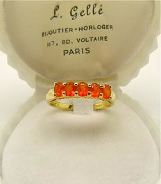1ct Natural Mexican fire Opal vintage ring designed by F.J.  -  NO RESERVE