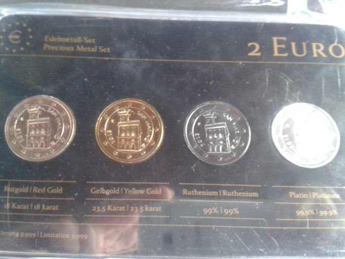 San Marino - Precious Metal Set-4x2 plated Euro-Year 2013