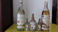 5 Old Bottles of Bacardi Rum - Bottled 1960s/70s