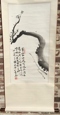 A scroll painting of a blossoming branch and a poem - China - 2nd half 20th century