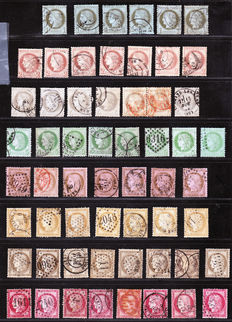 France 1872/1873 – Extensive colour study, a variety of cancellations on classics – Yvert no. 50 to 58