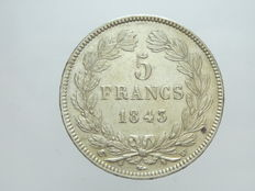 France – 5 Francs 1843 W (Lille) – Louis Philippe I – Silver