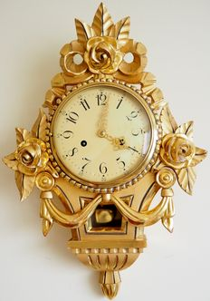20th Century Swedish Gilt Carved Ornate Wall Clock